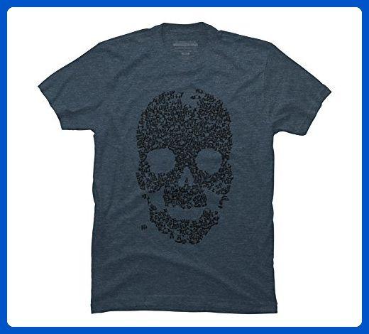 Panda Skull Men's X-Large Slate Blue Heather Graphic T Shirt - Design By Humans - Animal shirts (*Amazon Partner-Link)