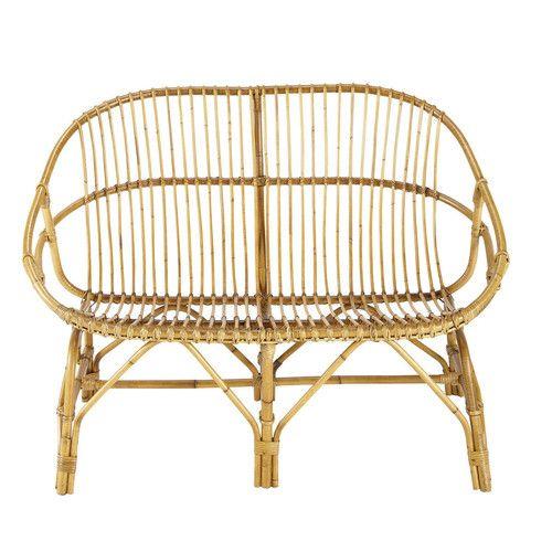 Vintage Sitzbank 2 Sitzer Rattan