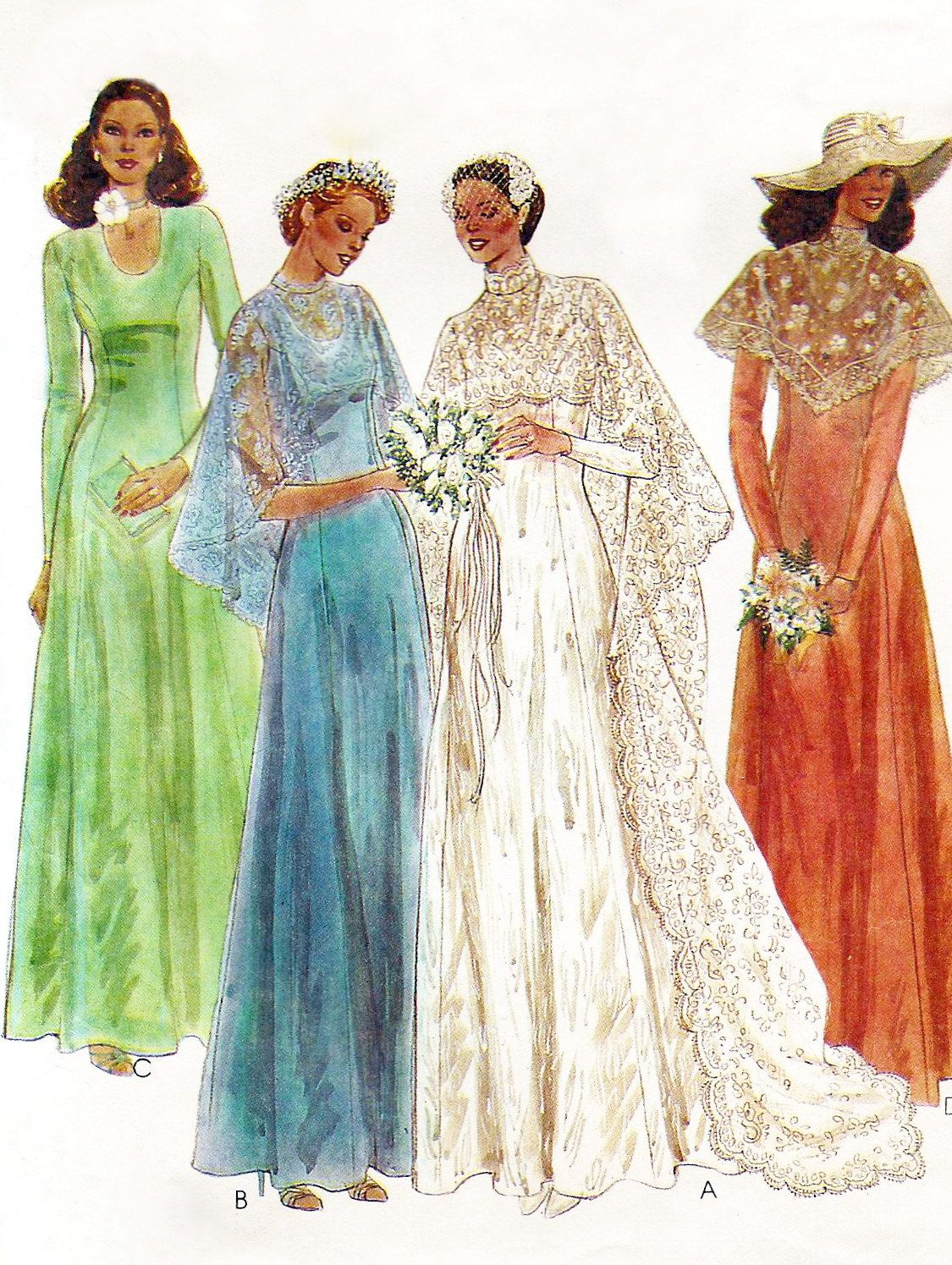 1970s wedding dress pattern - McCalls 6895 - 70s wedding dress with ...