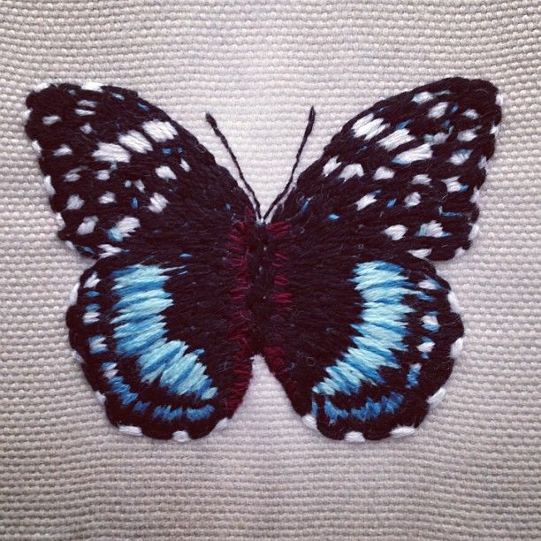 Embroidered butterfly | Embroidery | Pinterest | Butterfly ...