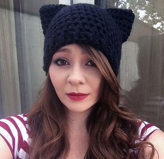 a6c11fd7d5a Cat ear beanies are so cute! These are made with bulky weight yarn (or  double strand worsted weight