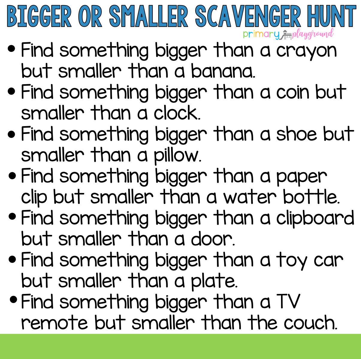 Bigger Or Smaller Scavenger Hunt In