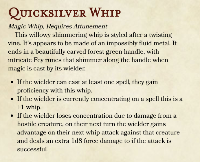 Fey Themed Magic Whip [Feedback wanted!] | D&d in 2019