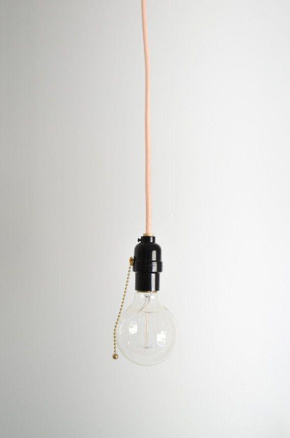 Pull Chain Utility Light Hanging Pendant Lamp Cloth Covered Cord Hanging Pendant Lamp Hanging Pendants Hanging Lights