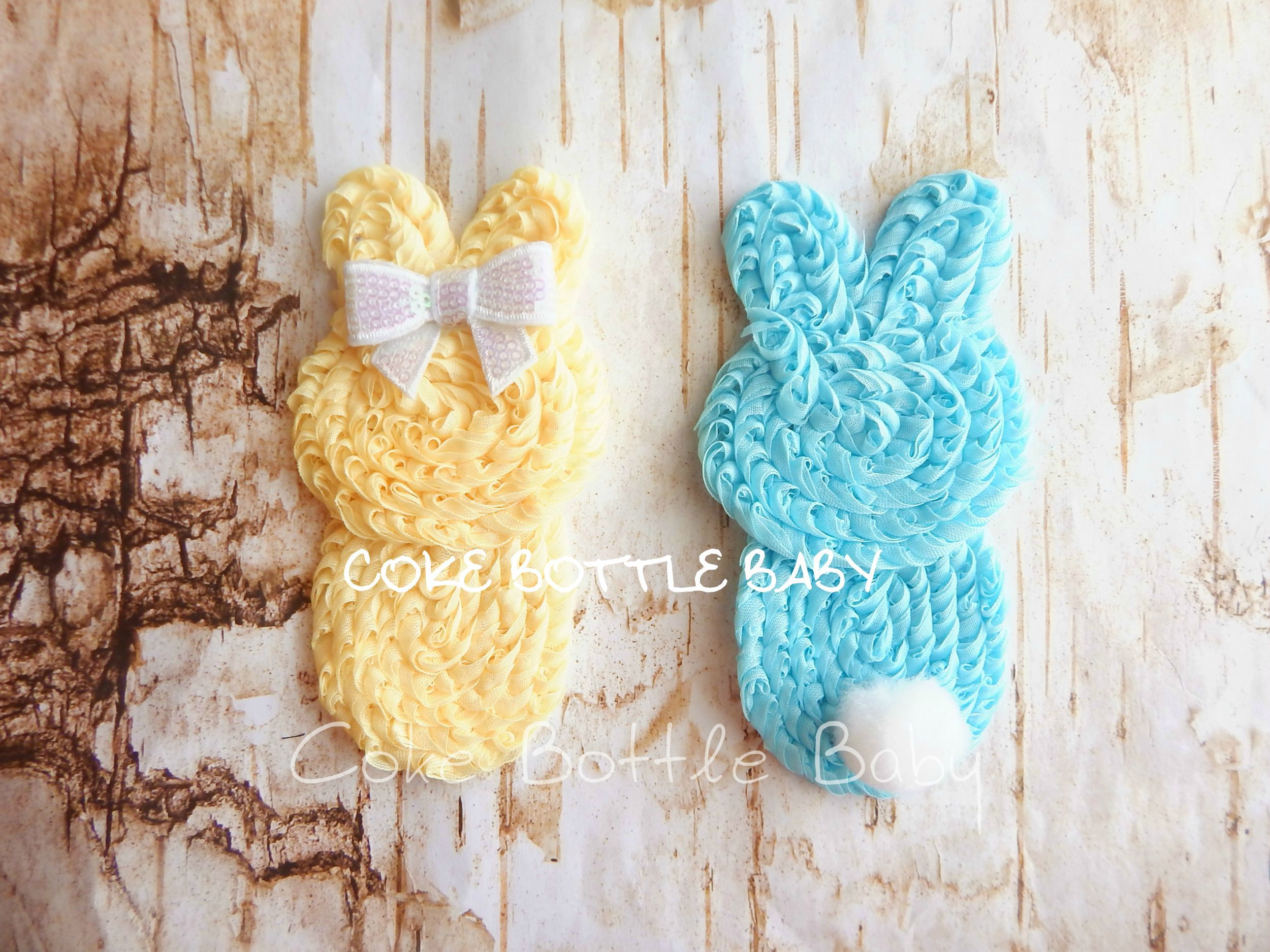 Cute bunny shabbies ,can be placed on a matching elastic  headband