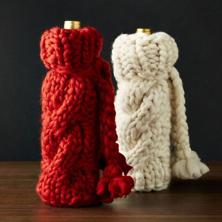 Cozy Cable Knit Sweater Wine Bottle Covers Wine Bottle Covers