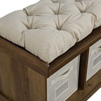 42 Wood Storage Bench With Totes And Cushion Rustic Oak Saracina