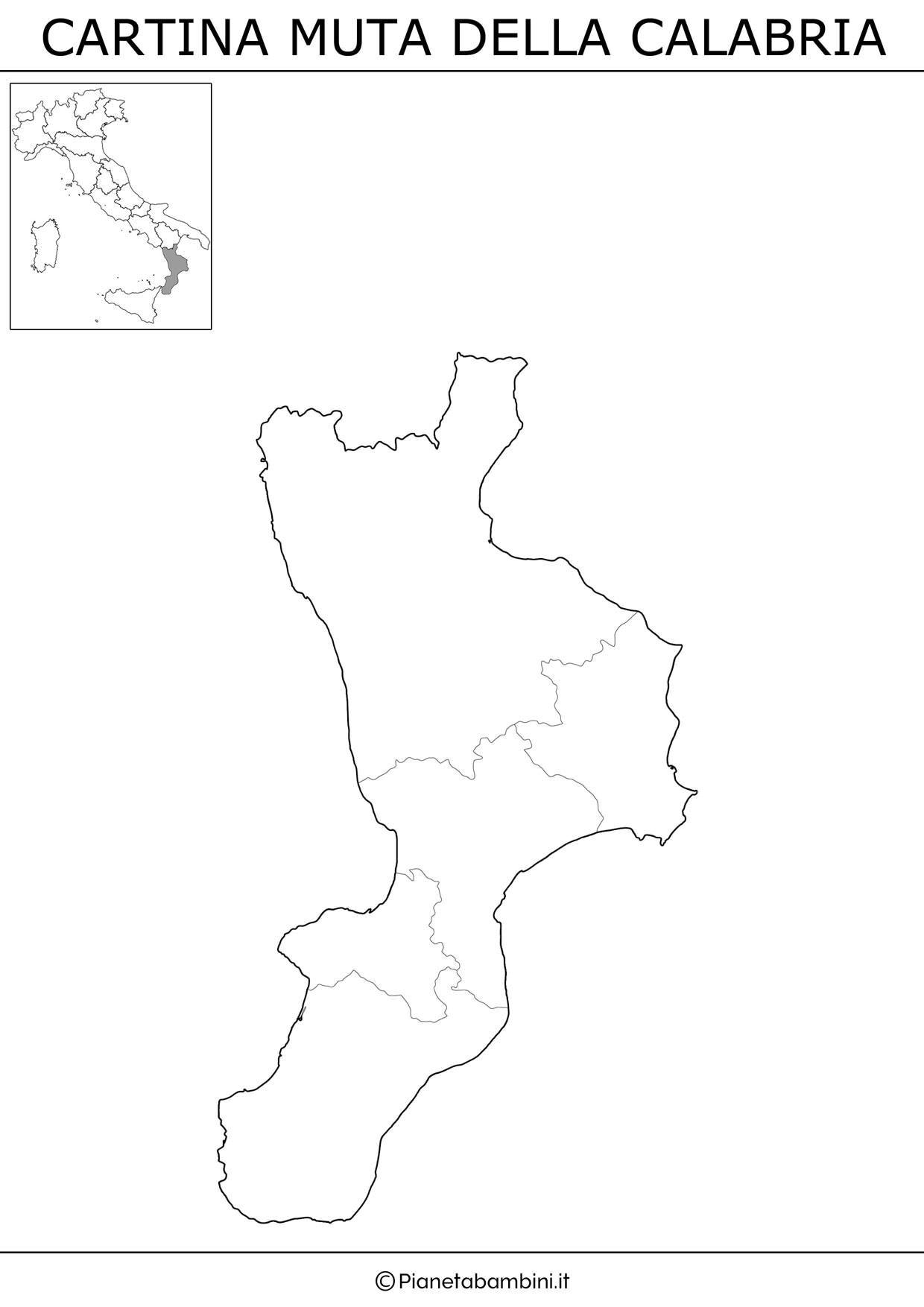 Cartina Muta Fisica E Politica Della Calabria Da Stampare Regioni