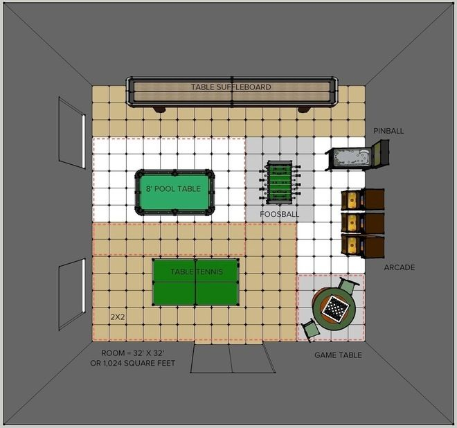 Correct Measurements And Space Needed For Pool Tables Foosball Tables Table Tennis Shuffleboard Etc Game Room Layout Arcade Room Pool Table Room