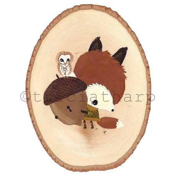 Fox Holding Acorn with Barn Owl Original Acrylic by TriciaTharp, $50.00