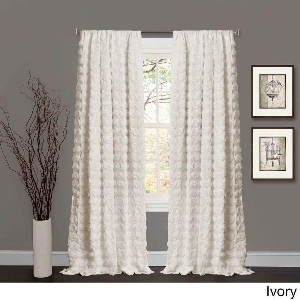 Lush Decor Emma Rosette 84 Inch Curtain Panel Ivory Beige Off White Size 54 X Polyester Abstract