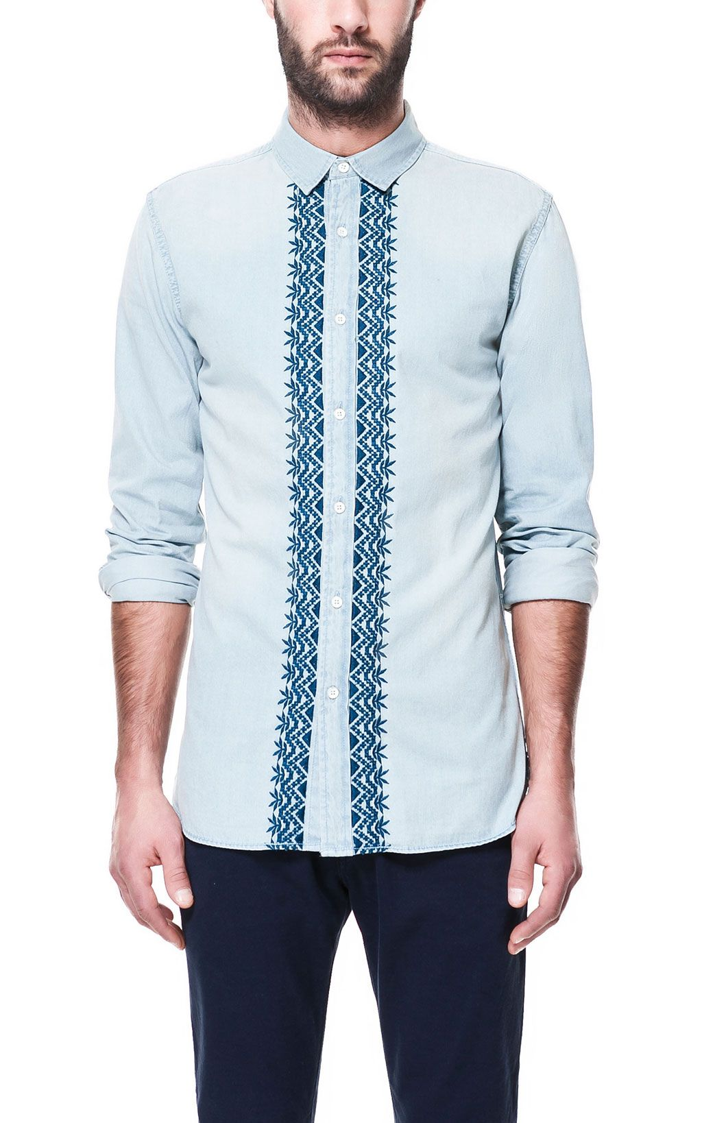 CAMISA DENIM BORDADO - Camisas - Hombre | ZARA España