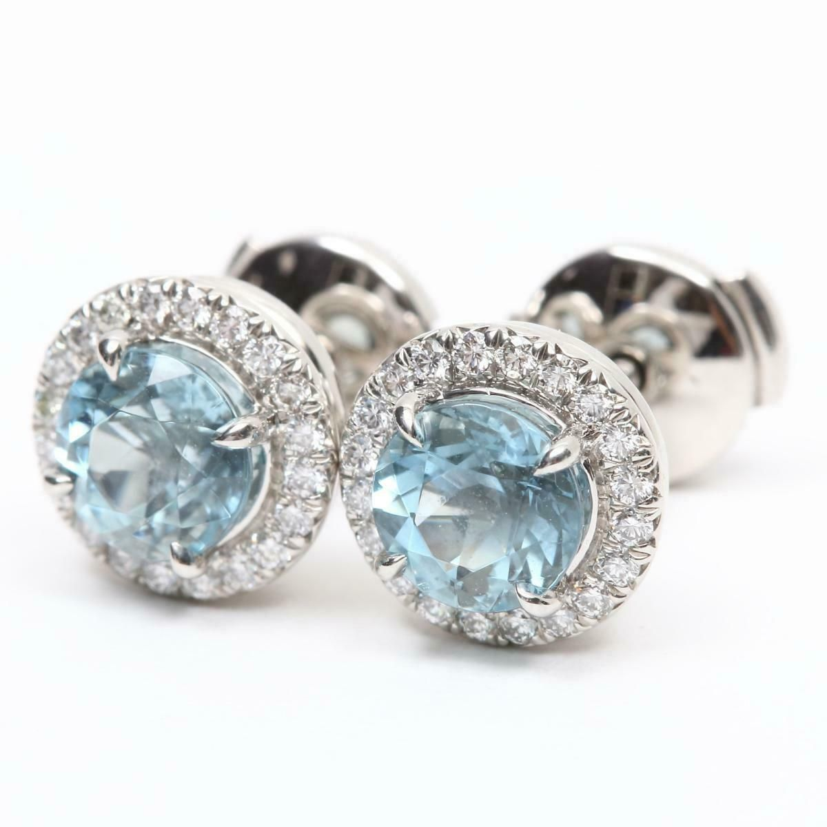 Authentic TIFFANY&CO Sorrest Aquamarine Diamond Earrings