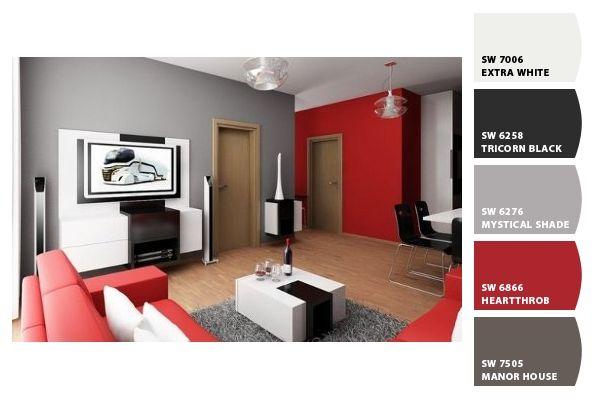 fotos salon gris y rojo  Diseño de interiores  Ideias para a casa