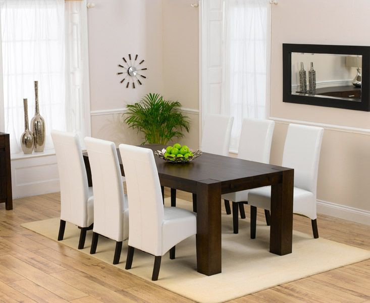 Madrid 200cm Dark Oak Dining Table With 6 Dakota Ivory White Faux Leather  Chairs Part 80
