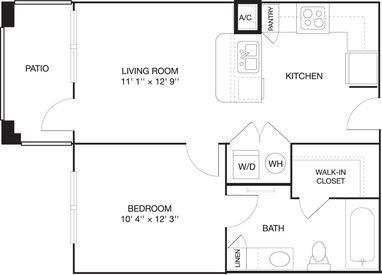One Bedroom Apartment Tuscaloosa With Images Floor Plans Student Apartment One Bedroom Apartment