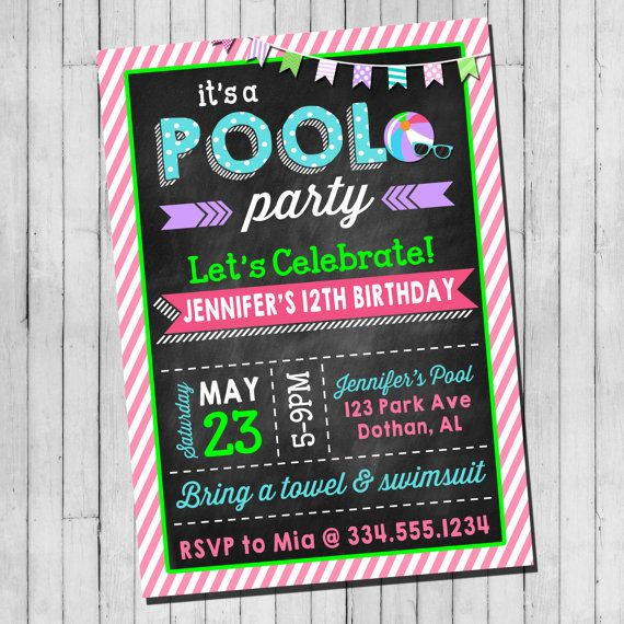 Pool Party Birthday Invitation Girl Teen Pool Party