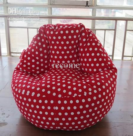 Red Dots Polka Beanbag Chair High Back Support Bean Bag Recliner Fashion Adults Sitting Cushion