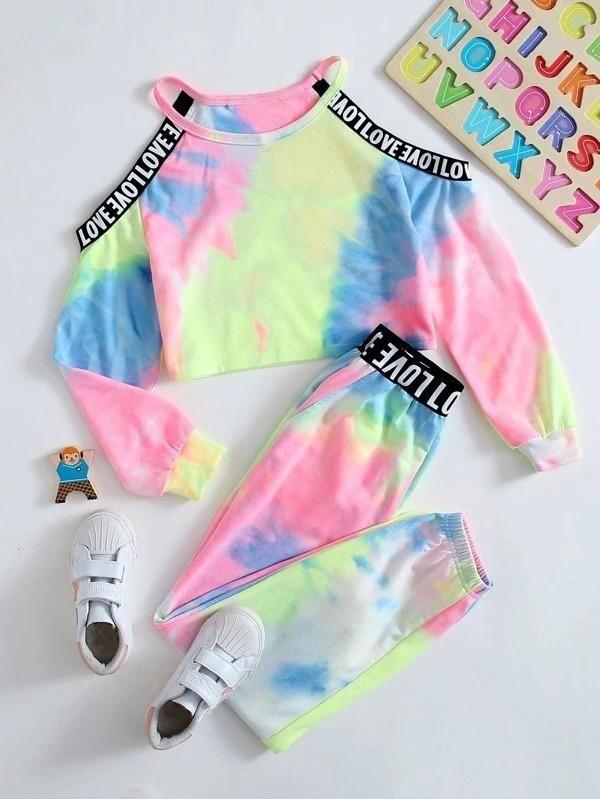 Girls Cold Shoulder Taped Detail Pullover & Tie Dye Sweatpants Set - 7Y