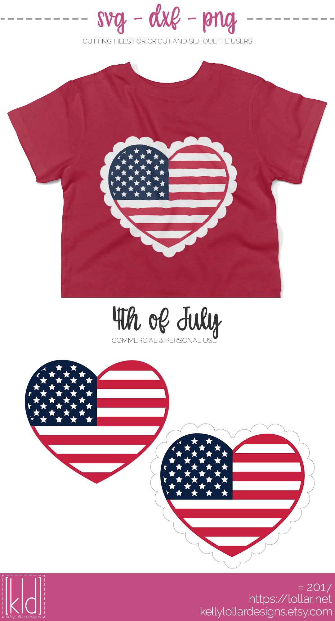 Cute American Flag Heart svg files - with plain or scalloped borders - FREE COMMERCIAL USE | Kelly Lollar Designs