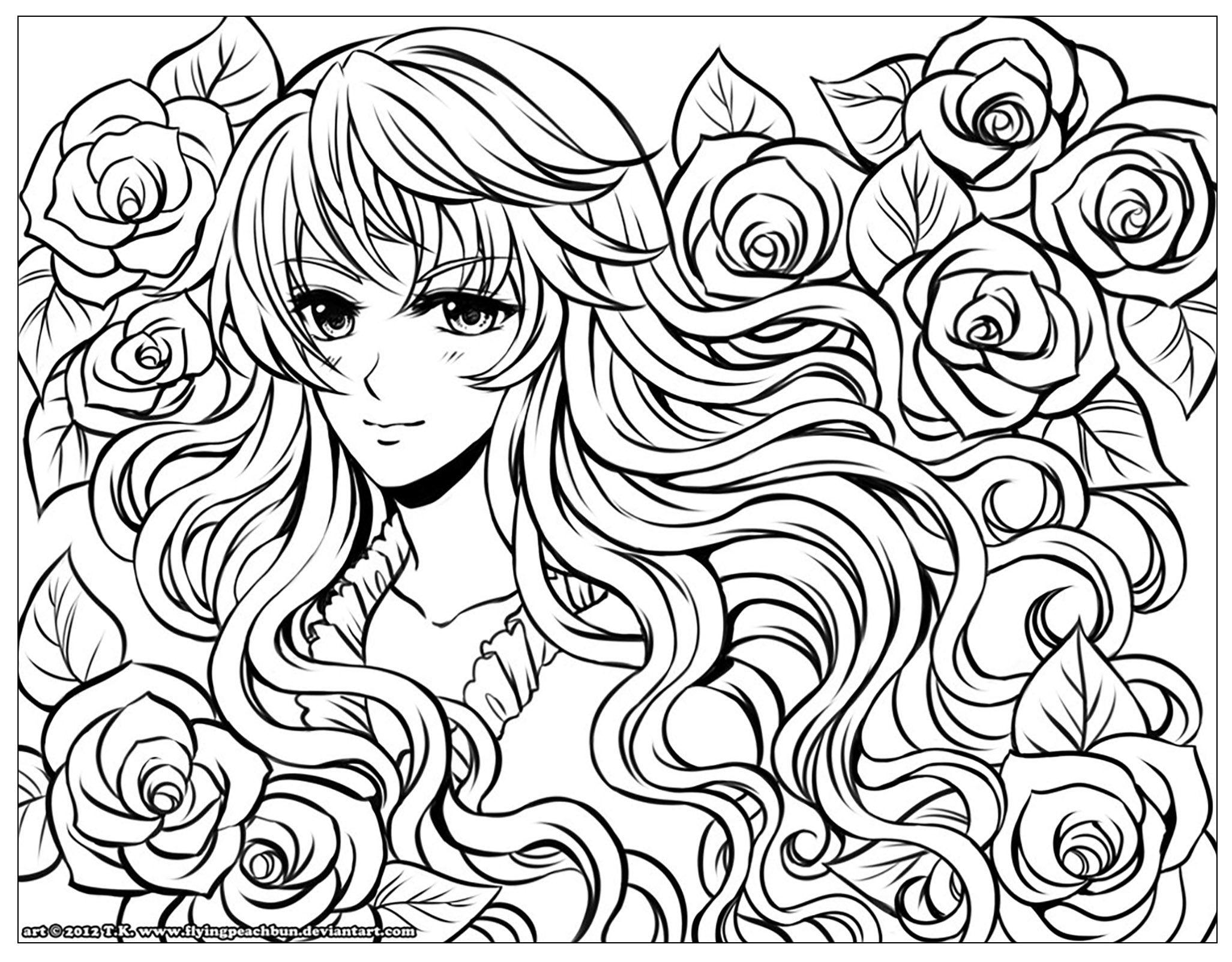 Ausmalbilder Manga Mädchen : Manga Girl With Flowers In Her Hair By Flyingpeachbun From The