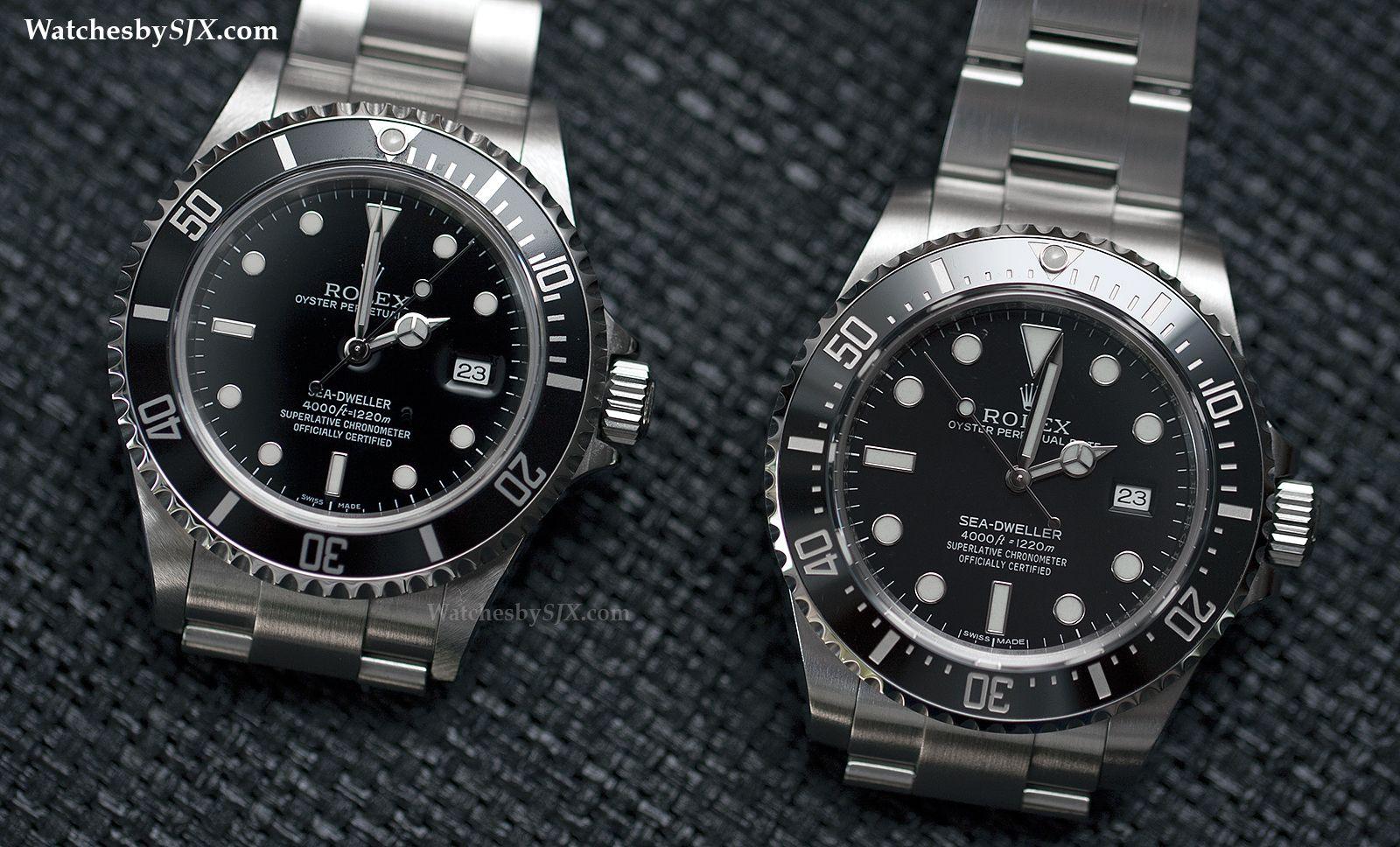 Watches by SJX: COMPARISON: Rolex Sea-Dweller 4000 Refs ...