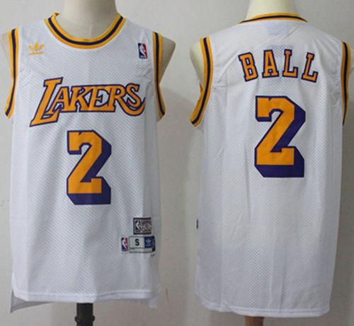 Lakers  2 Lonzo Ball White Throwback Stitched NBA Jersey  42b1f9fa6