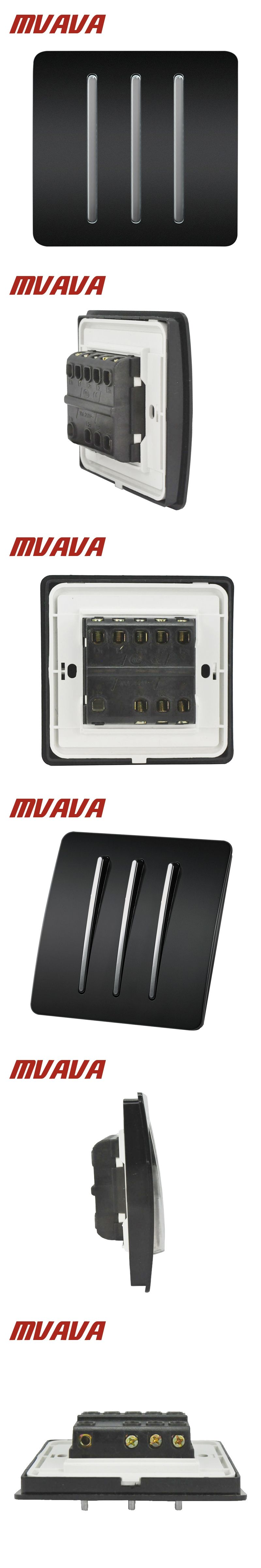 Mvava Electric Key Push Button Light Control Switch 3 Gang 2 Way Battery 250v 220v Wall Switches