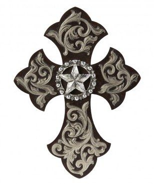 Silver Brown Star Wall Cross Wall Crosses Rustic Western Cross Metal