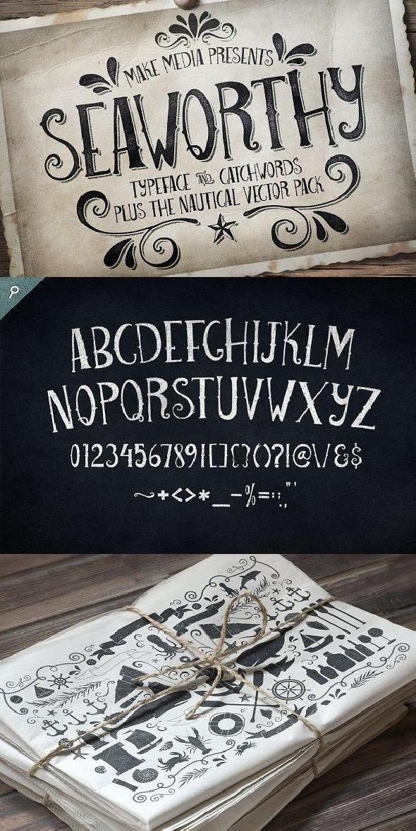 Download Seaworthy Typeface & Nautical Pack | Typeface, Font graphic