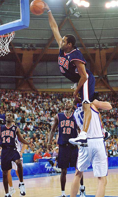Vince Carter dunking over 7'2 Frederic Weiss in the 2000 Summer Olympics. One of the best dunks of all time.