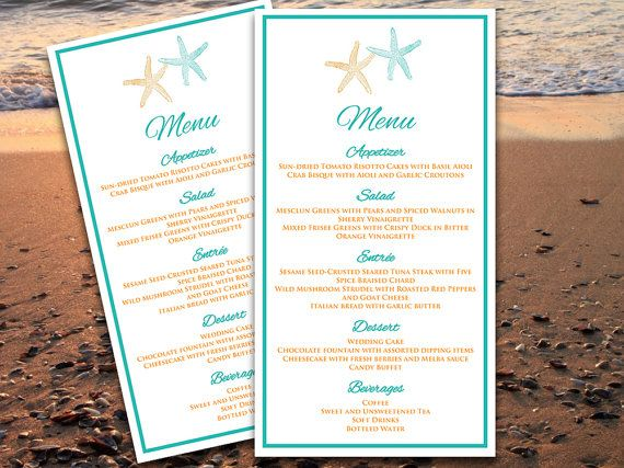 Starfish Beach Wedding Menu Card Microsoft Word Template Tiffany - Menu Word Template