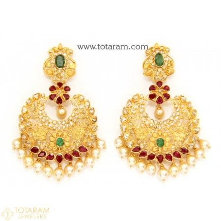 22K Gold Uncut Diamond Chand Bali Earrings With Ruby Emerald