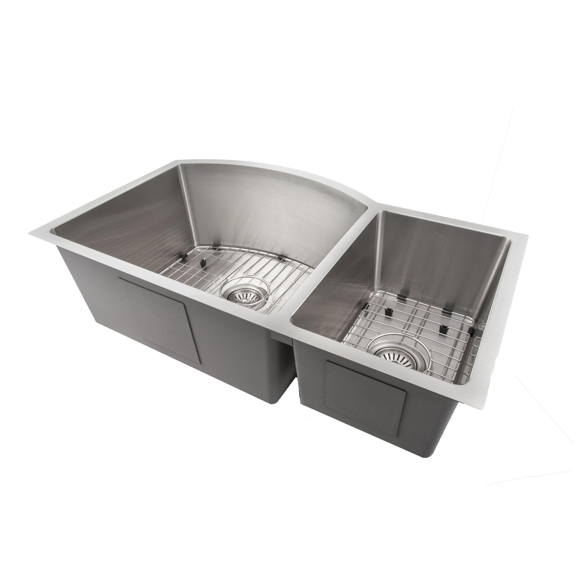 Zline Gateway Series 33 Inch Undermount Double Bowl Sink In Stainless Steel Sc70d 33 Double Bowl Sink Sink Stainless Steel Range Hood