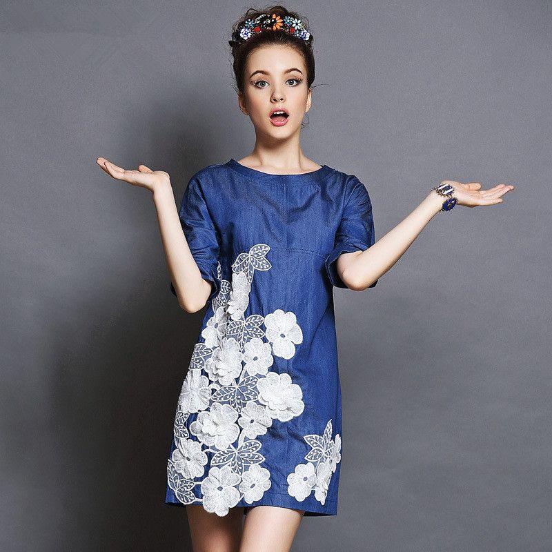 Europäischen Frauen A Line 3D Blumendruck Denim Kleid 2016 ...