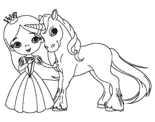 Dibujo De Princesa Y Unicornio Para Colorear Colorear Princesas