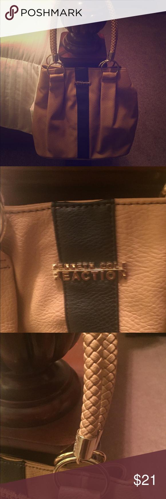 Kenneth Cole Purse!! Cute tan Purse with black strip down the middle and gold accents! Braiding on handles. Only worn once! Make an offer! Kenneth Cole Reaction Bags Satchels