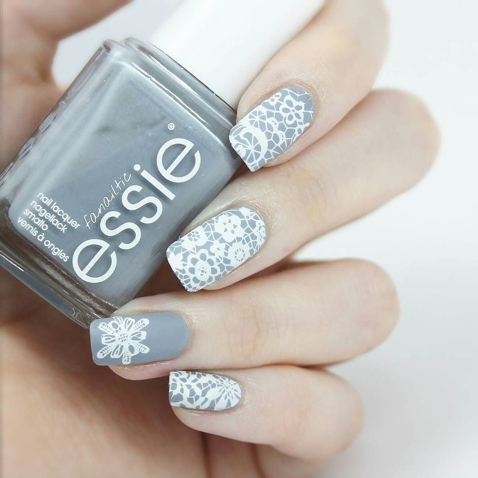 white stamping lace images on nails very pretty colors combo plate ...