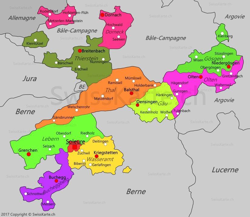Carte du canton de Soleure CH Pinterest