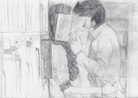Sketch of kiss in the library kiss art couple drawing sketch library pencil hide sneak
