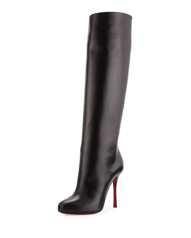 sale retailer d222b 6c3c8 Vitish Leather 100mm Red Sole Knee Boot Black | *Neiman ...