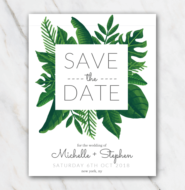 Tropical Green Wedding Save The Date Template Save The Date Templates Wedding Saving Save The Date