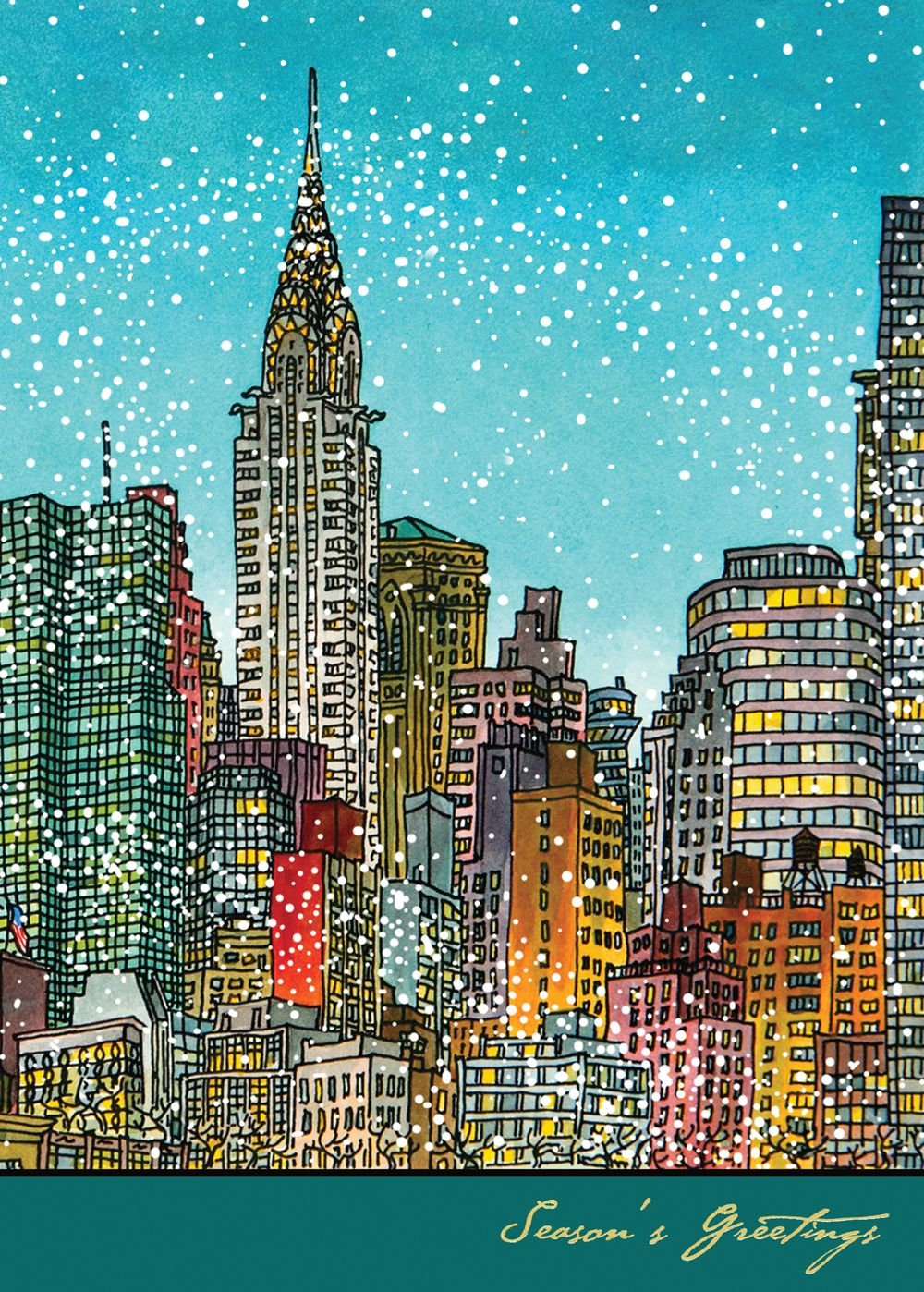 American Artist Manhattan Colors Holiday Card Discount Greeting