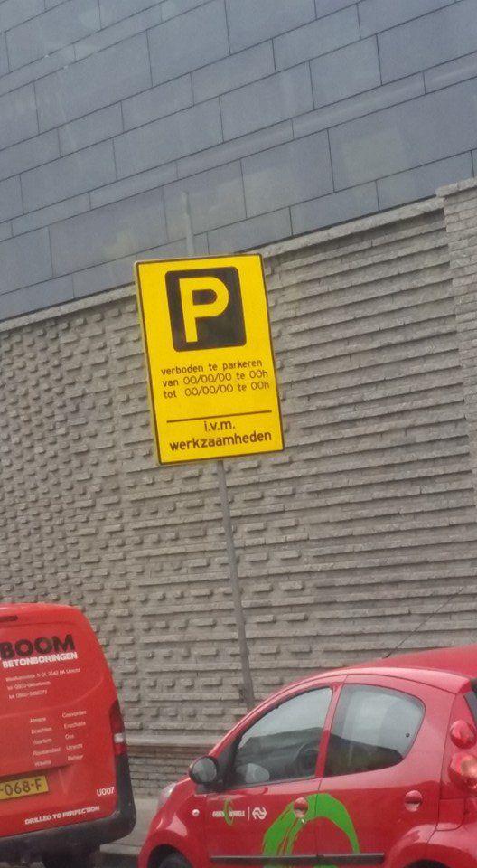 Een bord 'Vrij parkeren' was ook goed geweest ...