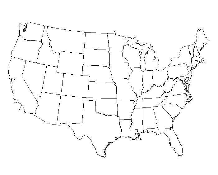 17 Blank Maps Of The United States And Other Countries United