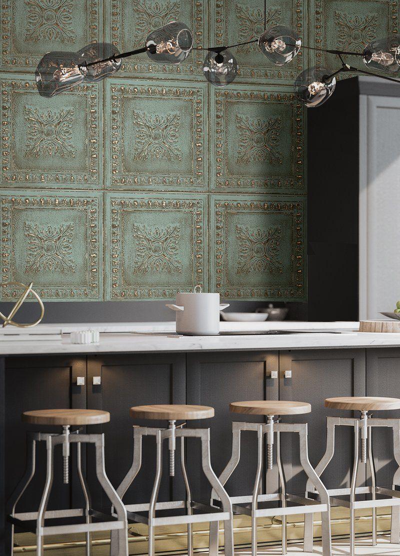 Ornamental Turquoise Rustic Tin Tile Wallpaper Tin Tiles Interior Tile Wallpaper