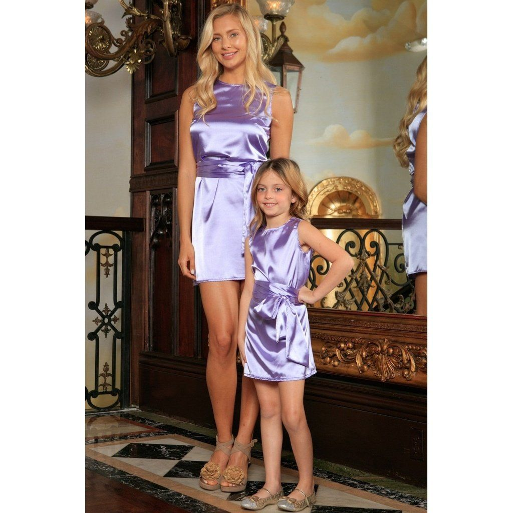 7d1cf9e5ca6 Lavender Sleeveless Summer Party Shift Mommy and Me Dress with Belt ...