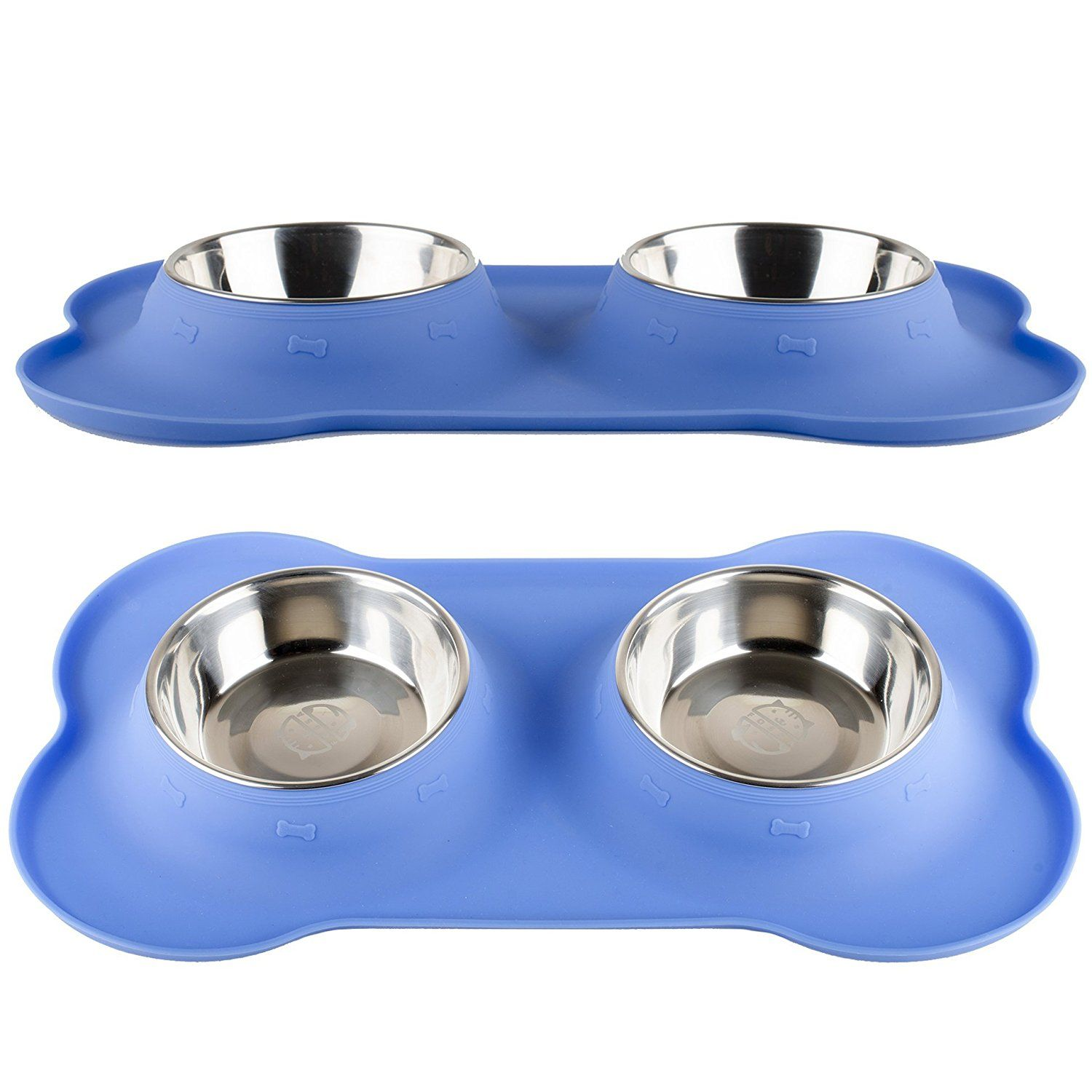 Fossa No Spill Stainless Steel Dog Food Bowls With Silicone Mat 24 oz Feeder For Small to Medium Pets ** For more information, visit image link. (This is an Amazon affiliate link)