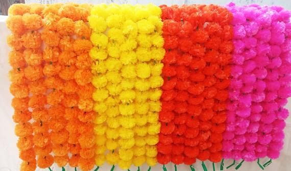 New Marigold Flowers Garlands 5ft For wedding decoration ,Diwali Decoration,Wedding Decor,Stage Decoration,Temple Decor (Packof10)