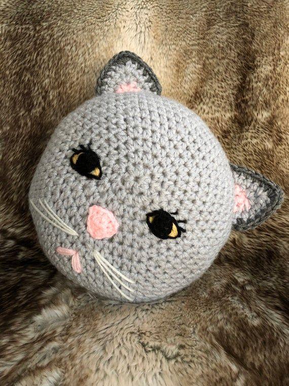 Crochet cat pillow, handmade pillow , animal pillow , gray cat pillow